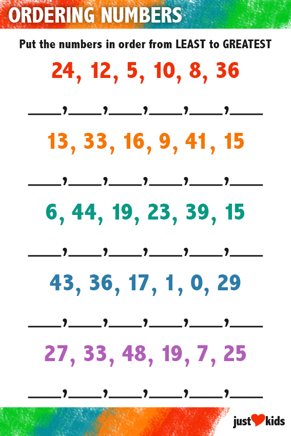 Comparing and Ordering Numbers MathDali 1