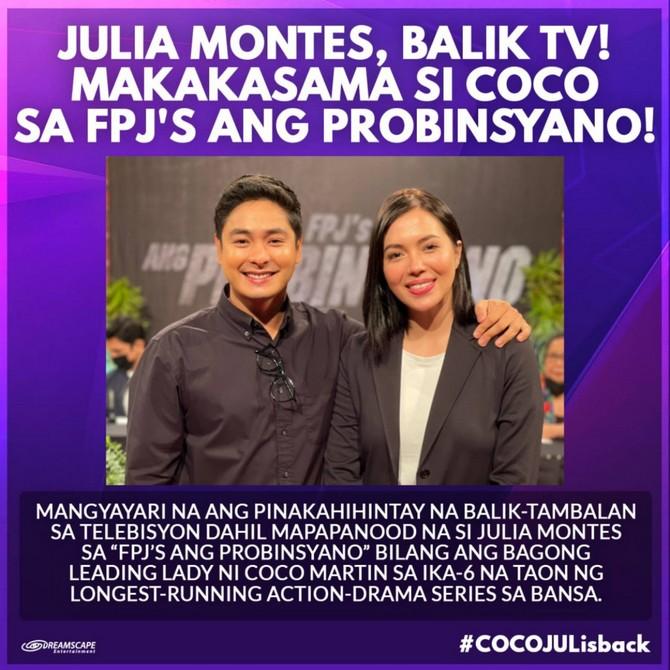 Julia Montes makes TV comeback, reunites with Coco in FPJ's Ang Probinsyano