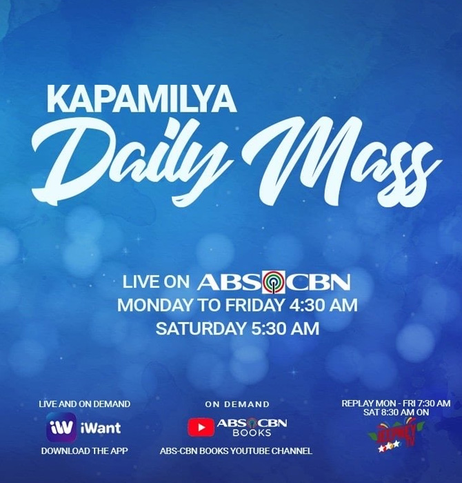 Watch the daily mass live on ABS CBN S A Jeepney TV and iWant 1