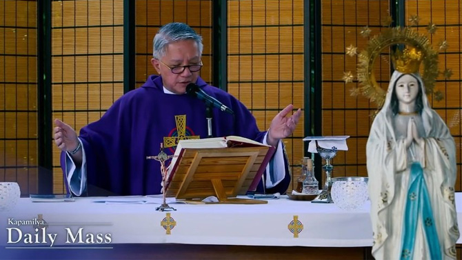 Watch the daily mass live on ABS CBN S A Jeepney TV and iWant 2