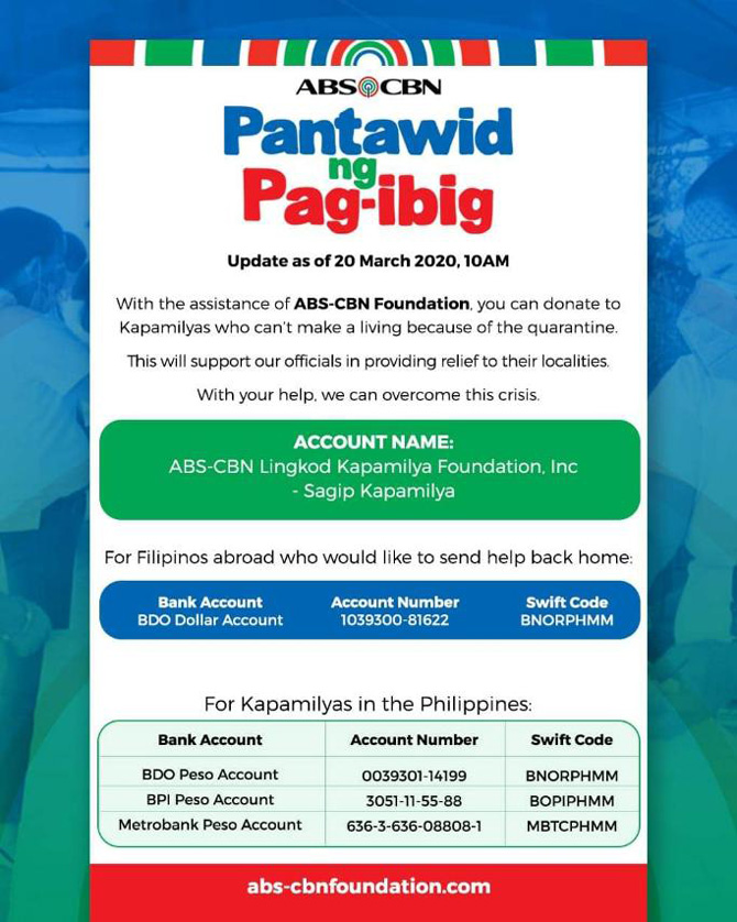 ABS CBN launches Pantawid ng Pag ibig campaign to provide food for the Filipinos affected by community quarantine 1