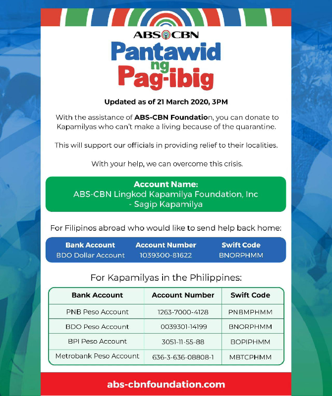 ABS CBN delivers first P100 M worth of goods to LGUs for Filipinos affected by quarantine 1
