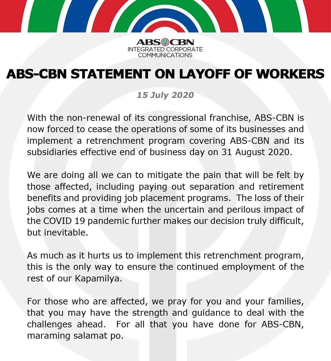 ABS CBN statement on layoff of workers 1