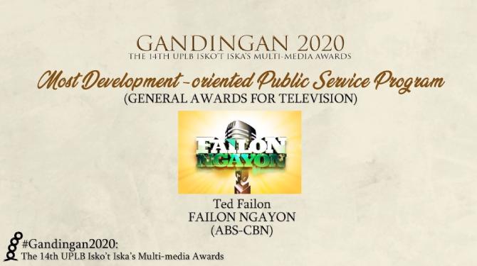 Failon Ngayon wins big in the 14th Gandingan Awards 1