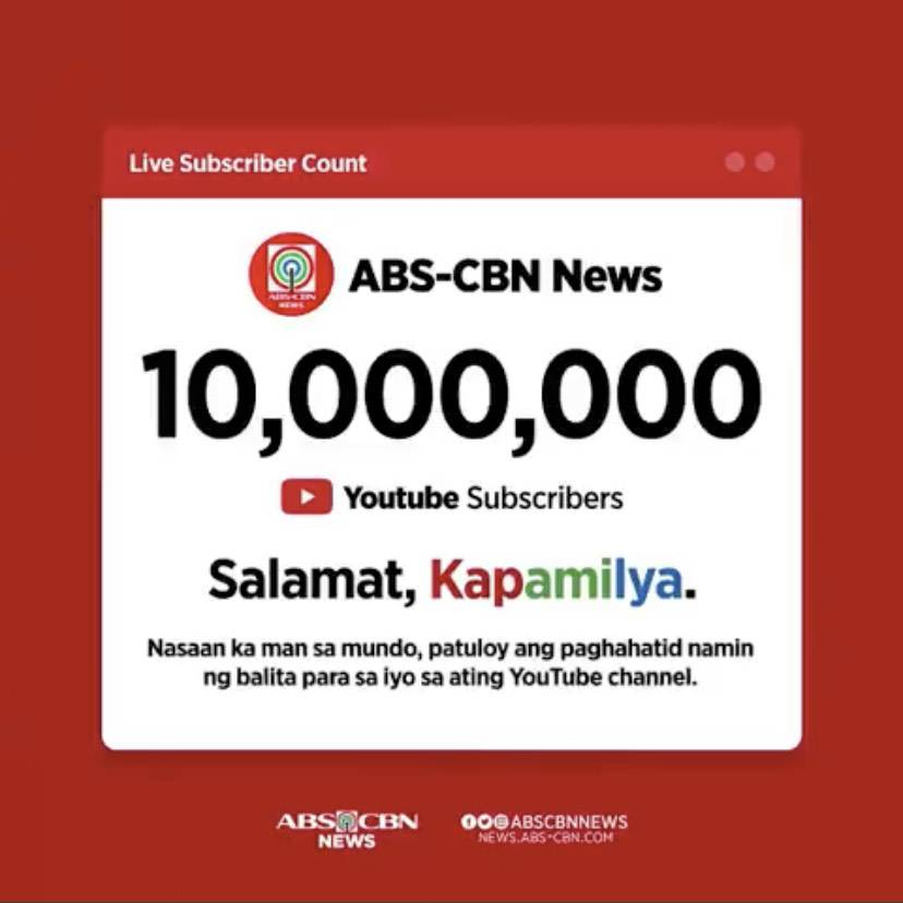 ABS CBN News reaches digital milestone with 10M subscribers on YouTube 1