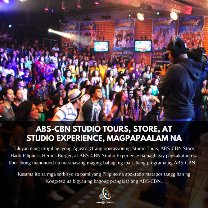 ABS CBN Studio Tours Store and Studio Experience cease operations 1
