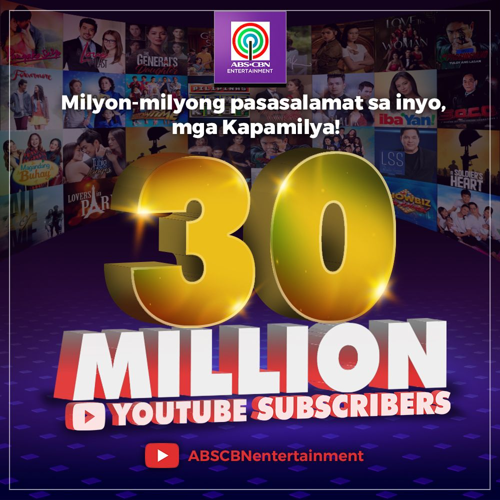 ABS CBN Entertainment YouTube channel naka 30M subscribers na 1