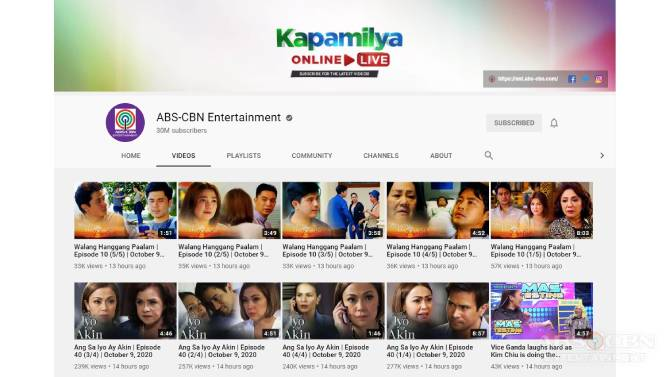ABS CBN Entertainment YouTube channel naka 30M subscribers na 2