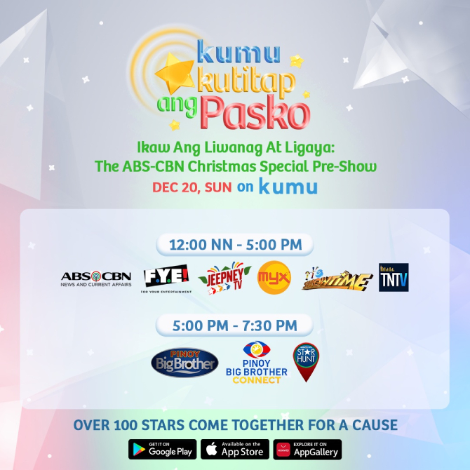 ABS CBN Christmas Special pre show on KUMU Kumukutitap ang Pasko gathers over 100 stars for a cause 2