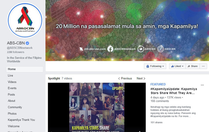 ABS CBN s Facebook page first to reach 20M likes in PH YouTube channel most subscribed in PH 1