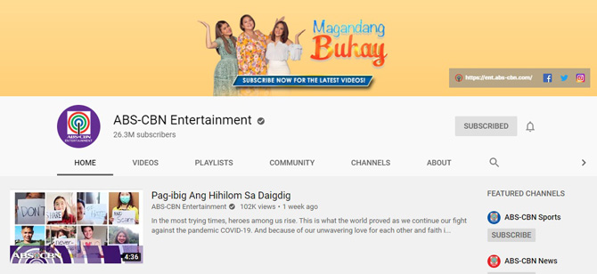 ABS CBN s Facebook page first to reach 20M likes in PH YouTube channel most subscribed in PH 2