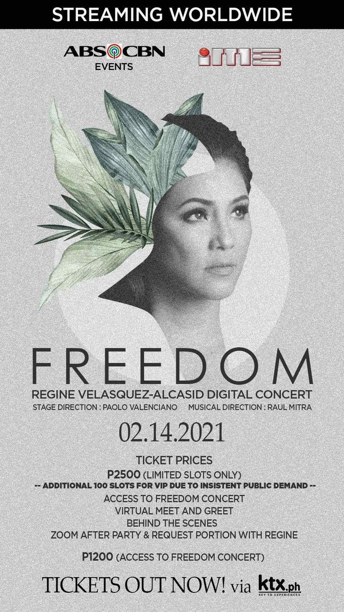 Tickets for Regine s Freedom digital concert now up for grabs 1