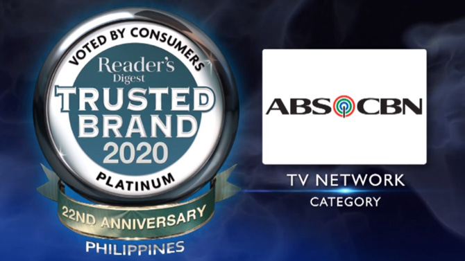 ABS CBN wins 5th Platinum Award from Reader s Digest Trusted Brands 2020 1