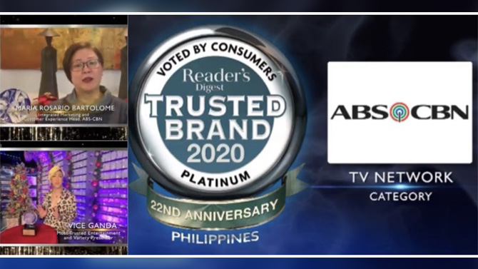 ABS CBN wins 5th Platinum Award from Reader s Digest Trusted Brands 2020 2