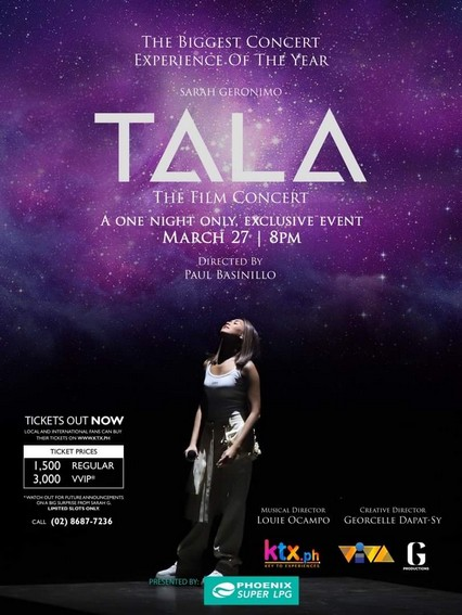 Sarah G s Tala The Film Concert to premiere exclusively on KTX PH iWantTFC and TFC IPTV on March 27 1