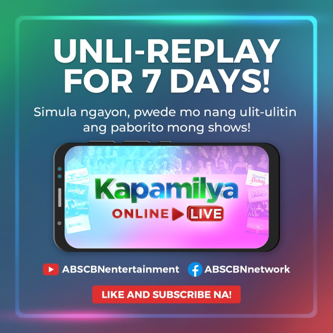 ABS CBN Entertainment shows now available for 7 days on Kapamilya Online Live 1