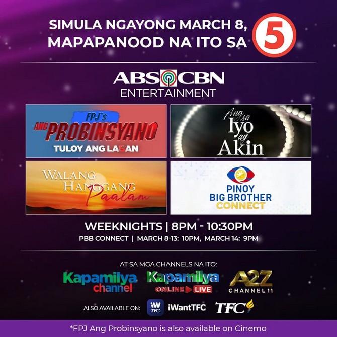 TV5 to air four ABS CBN Entertainment primetime programs 1