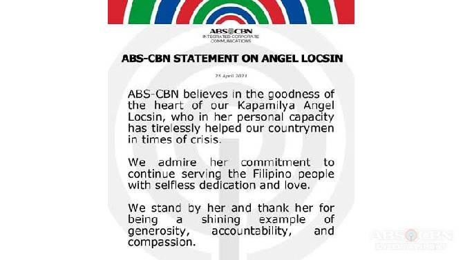 ABS CBN statement on Angel Locsin 1