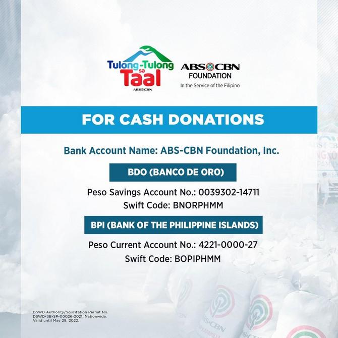 ABS-CBN Foundation Tulong-tulong sa Taal Bank Accounts