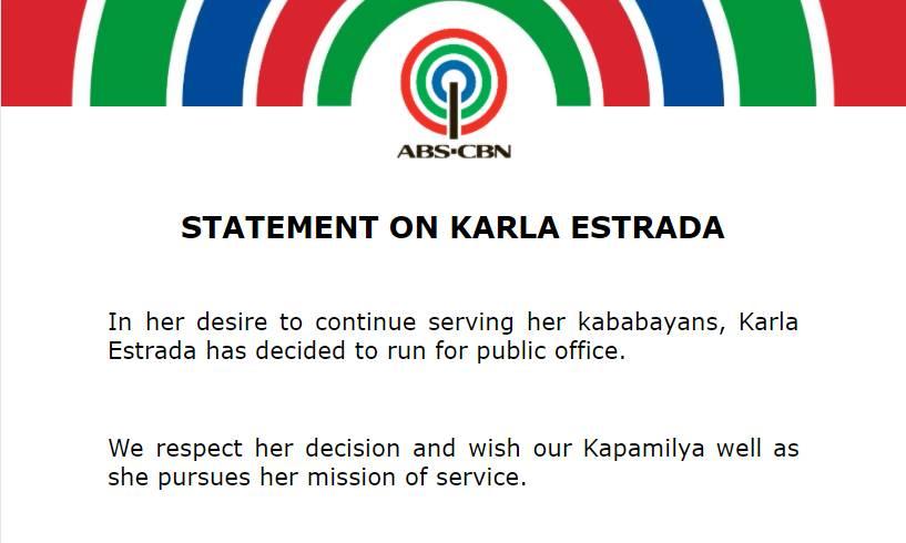 Statement on Karla Estrada
