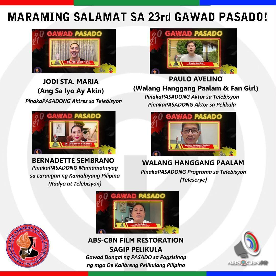 23rd Gawad Pasado Kapamilya winners