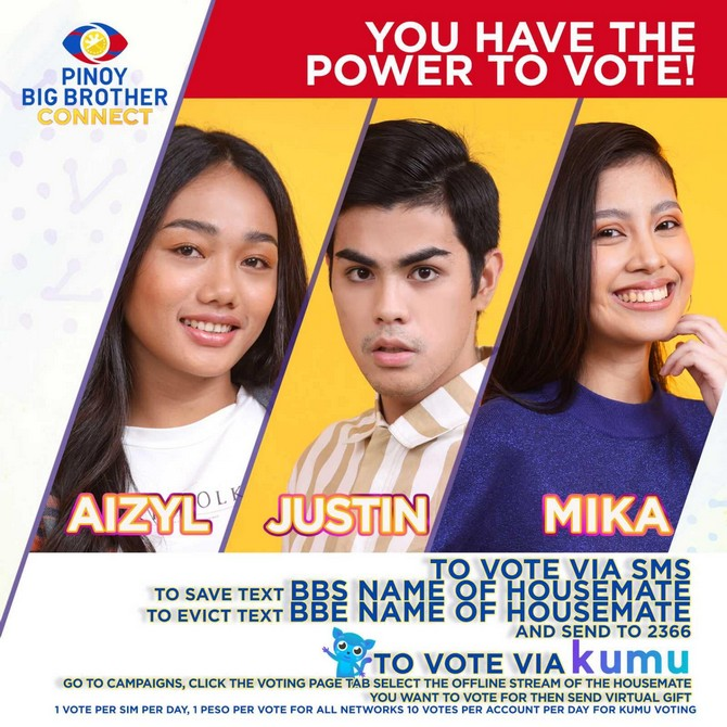 Housemates Aizyl Justin and Mika are up for eviction on PBB Connect 1