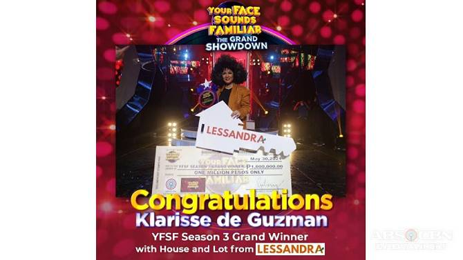 Lessandra awards brand new house and lot to Your Face Sounds Familiar Grand Winner 1